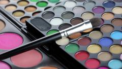Professional makeup brush and eyeshadows palette - stock footage