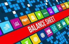Balance sheet  concept image with business icons and copyspace. Stock Illustration