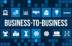B2B (Business-to-business) concept image with business icons and copyspace. - stock illustration