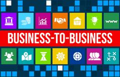 B2B (Business-to-business) concept image with business icons and copyspace. Stock Illustration