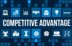 Competitive advantage concept image with business icons and copyspace. Stock Illustration