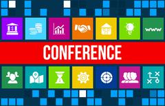 Conference, forum or some event concept image with business icons and copyspa Piirros