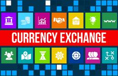 Currency exchange  concept image with business icons and copyspace. Stock Illustration