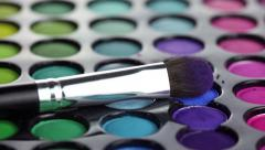 Professional makeup brush and eyeshadows palette Stock Footage