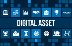Digital asset concept image with business icons and copyspace. - stock illustration