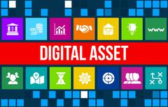 Digital asset concept image with business icons and copyspace. Stock Illustration
