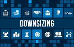 Downsizing concept image with business icons and copyspace. Stock Illustration