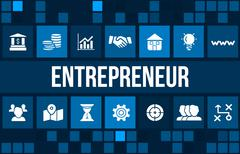 Entrepreneur concept image with business icons and copyspace. - stock illustration