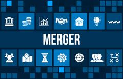 Merger  concept image with business icons and copyspace. Stock Illustration