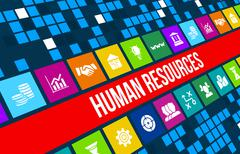 Human resources concept image with business icons and copyspace. Stock Illustration