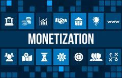 Monetization concept image with business icons and copyspace. - stock illustration