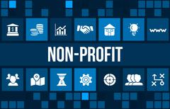 Nonprofit concept image with business icons and copyspace. - stock illustration