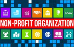 Non-profit organization  concept image with business icons and copyspace. - stock illustration