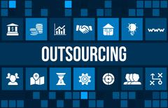 Outsourcing concept image with business icons and copyspace. - stock illustration