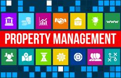 Property Management concept image with business icons and copyspace. Stock Illustration