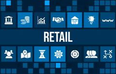 Retail concept image with business icons and copyspace. Stock Illustration