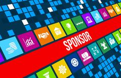 Sponsor  concept image with business icons and copyspace. - stock illustration