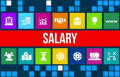 Salary concept image with business icons and copyspace. - stock illustration