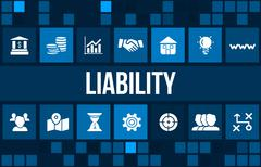 Liability concept image with business icons and copyspace. Stock Illustration
