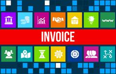 Stock Illustration of Invoice  concept image with business icons and copyspace.