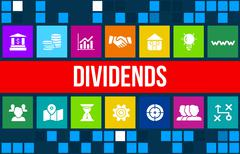 Dividends  concept image with business icons and copyspace. Stock Illustration