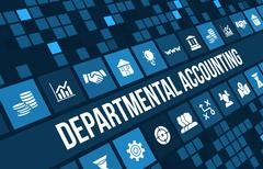 Departmental accounting concept image with business icons and copyspace. - stock illustration