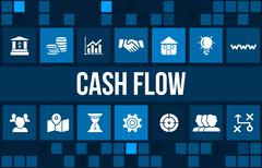 Cash flow  concept image with business icons and copyspace. - stock illustration