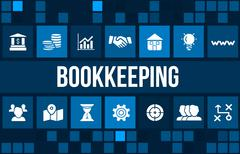 bookkeeping  concept image with business icons and copyspace. - stock illustration