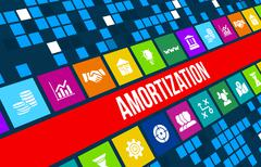 Stock Illustration of AMORTIZATION  concept image with business icons and copyspace.