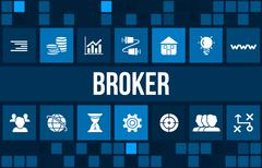 Broker concept image with business icons and copyspace. Stock Illustration
