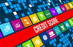 Credit Score concept image with business icons and copyspace. - stock illustration