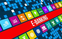 E-banking concept image with business icons and copyspace. Stock Illustration