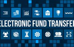 Electronic fund transfer concept image with business icons and copyspace. - stock illustration