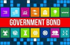 Government Bond concept image with business icons and copyspace. Stock Illustration