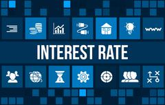 Interest rate concept image with business icons and copyspace. - stock illustration
