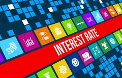 Stock Illustration of Interest rate concept image with business icons and copyspace.