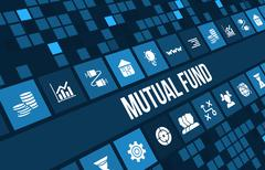 Mutual fund concept image with business icons and copyspace. - stock illustration
