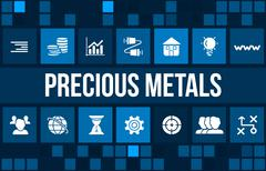 Precious metals concept image with business icons and copyspace. - stock illustration