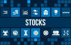 Stock Illustration of Stocks concept image with business icons and copyspace.