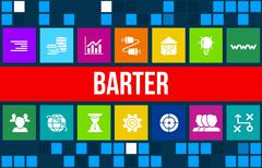 Barter concept image with business icons and copyspace. Stock Illustration