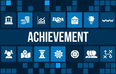 Achievement concept image with business icons and copyspace. - stock illustration