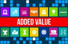 Added value concept image with business icons and copyspace. Stock Illustration
