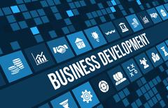 Stock Illustration of Business development concept image with business icons and copyspace.