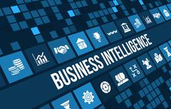 Business intelligence concept image with business icons and copyspace. - stock illustration