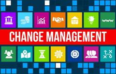 Change management concept image with business icons and copyspace. - stock illustration
