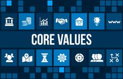 Core values concept image with business icons and copyspace. Stock Illustration