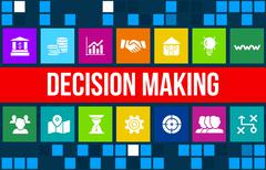 Decision making concept image with business icons and copyspace. - stock illustration