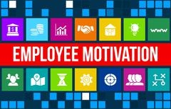Stock Illustration of Employee motivation concept image with business icons and copyspace.