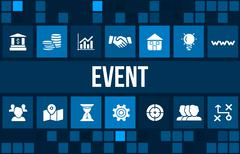 Event concept image with business icons and copyspace. Stock Illustration