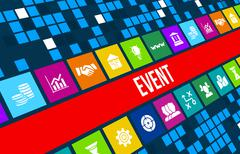 Event concept image with business icons and copyspace. - stock illustration